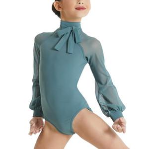 Manches longues Mock Ballet Neck Danse Danse justaucorps de gymnastique moderne Porter Costume Performance La compétition pour les filles Les femmes