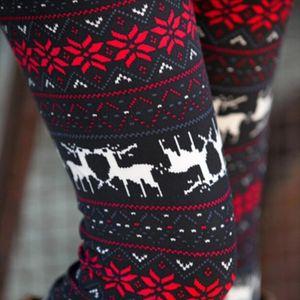 Stripe Warm Womens Leggings Women Sexy Winter Soft Casual Leggings High Waist Snow Print Elk Pattern Christmas Leggings