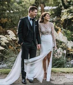 Sexy See Through Boho Beach Wedding Dresses 2020 3D Floral Appliques Illusion Long Sleeve Bohemian Bridal Gowns Side High Split Vestidos