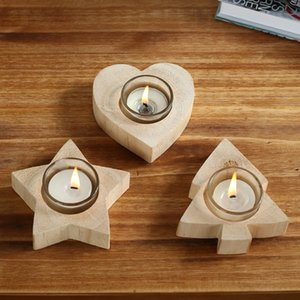 Vela suporte de madeira da árvore da estrela Heart Shaped Candle Holder Candlelight Decoração de Natal
