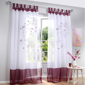 tulle Sheer Curtains Flower Printed Curtain Window Screen Sheer Curtains Window Curtain For Bedroom Living Room