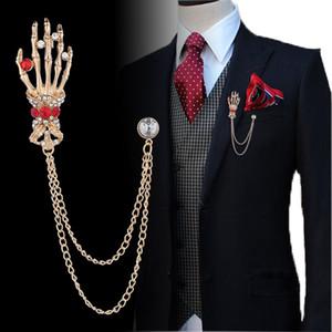 Retro Erkekler Broş lüks Kristal Moda Punk Broş Hip-hop Kafatası El Badge Yaka Pin İçin Erkekler Aksesuarları