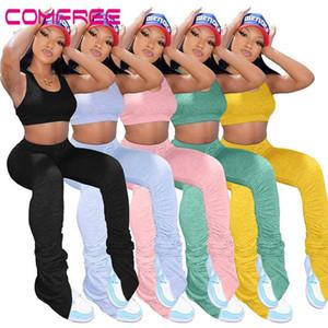 Yığın Tozluklar Yüksek Bel Koşucular Sweatpants Bell Alt Pantolon Kadınlar Bölünmüş Hem Flare Dantelli Pantolon Koşu Pileli Leggins