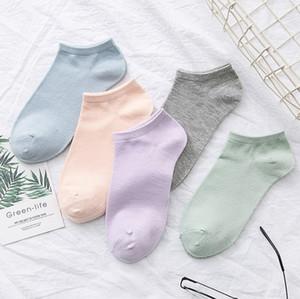 chaussettes printemps bateau de couleur unie des femmes et des chaussettes en coton mince couleur bonbon été dames sport décolletée de coton