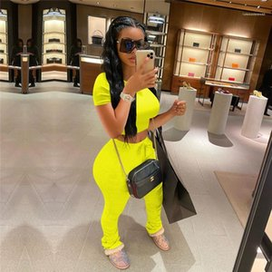 Tracksuits Solid Color Slim Womens Designer Tracksuits Hot Short Top Long Pants 2PCS Short Sleeve Skinny O Neck Sexy Womens