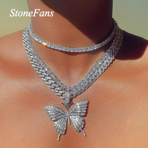 Stonefans Luxury Cuban Link Chain Choker Necklace Butterfly Pendant for Women Hip Hop Iced Out Rhinestone Necklace Jewelry