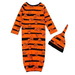 Neugeborenes Baby Swaddle Schlafsack Hut 2 PCS 1set IN Kleinkind-Kürbis-Halloween-Schlaf Sacks Fotografie Prop Schlafsack KKA8087