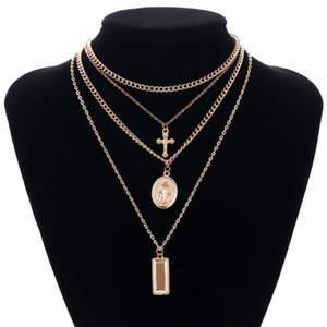 Göttin katholische Halskette Mehrschichtige Kreuz Jungfrau Maria Anhänger Kette Christian Neckalce Collier für Damen Schmuck