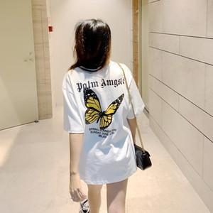 5SX90 2020 printemps et en été PALM papillon papillon Ange imprimé court avancé manches courtes T-shirt col rond marque Tide t-shirt
