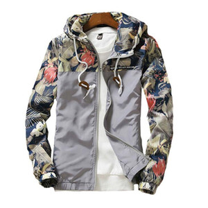 Windbreaker Mens Jacket Autumn Plus Size 5XL Causal Zipper Hooded Floral Loose Basic Jacket Coat Men Womens Windbreaker