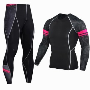 Compression Sports Set Long Sleeve Pants 2pcs suit Gym Fitness Bodybuilding Run MMA Sportswear Fast Dry Tight Jogging Clothes Y1890402