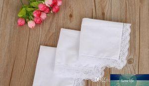White Lace Thin Handkerchief Woman Wedding Gifts Party Decoration Cloth Napkins Plain Blank DIY Handkerchief 25*25cm