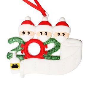 Ornamento de la Navidad 3D sobreviviente personalizado familia 2 3 4 5 6 7 lavados a mano decoraciones enmascarado árbol de Navidad colgando colgante de PVC
