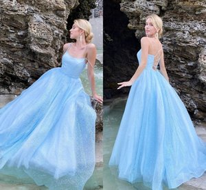 Bling Light Sky Blue A line Prom Dress Evening Gowns with Spaghetti Straps Ruched Lace Long Cheap Formal Gowns For Women Designer Cheap