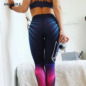 HAHASOLE 여성 스포츠 스타킹 체육관 HWA4899-40 스타킹 바지를 실행 스포츠 요가 바지 피트니스 스포츠를 인쇄 스트레칭