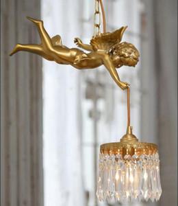 All copper antique angel flower bud chandelier balcony bedroom restaurant European and American retro all copper Angel Chandeliers