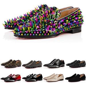 con scatola moda mens scarpe mocassini neri rossi picco di picco di vernice scivolando su abito da sposa piatte bottoms scarpa scarpa per il partito aziendale Dimensione 38-47