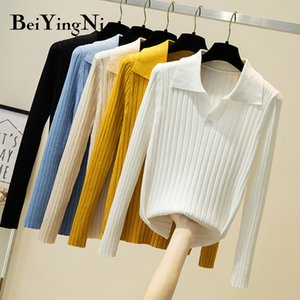 Beiyingni 2020 Chic Sweater Female White Black Long Sleeve Top Jumper Women Slim Leisure Vintage V-neck Fashion Sweaters Womens