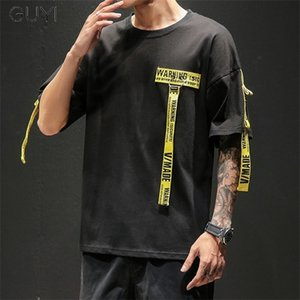 GUYI Tag T Shirt O-neck Off Tops Tees Male Boy White Casual Fashion Streetwear Gold Side Stripe Men Short Sleeve Black Patchwork 0921