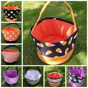 Halloween Gift Bucket Printing Wrap Child Candy Collection Bag Trick or Treat Handbag Kid Festival Handle Storage Tote Basket LJJP473