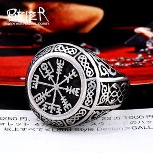 클러스터 링 Beier Store 316L 스테인레스 스틸 바이킹 Amulet 남성 반지 노르딕 이교도 라운드 실드 LLBR8-657R