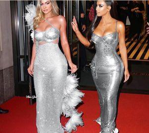 Abiye Yousef Aljasmi Gümüş Kürk Bölünmüş Straplez Kylie Jenner Kendal Jenner Kadınlar Elbise Kim Kardashian İnce Görünüşü Slimmer