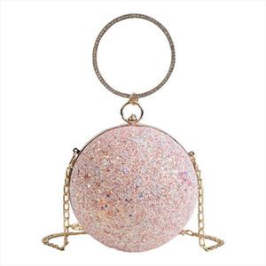 Women Evening Bags Bridal Wedding Party Handbag Sequined Designer Round Ball Bag Messenger Bag Fashion Shoulder Bag