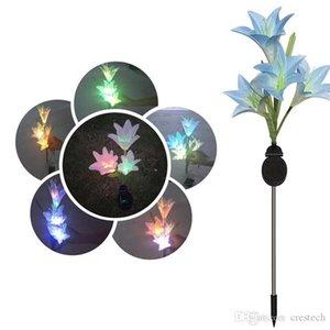 الشمسية ضوء 4 رؤساء المصابيح الشمسية LED الديكور في الهواء الطلق مصباح الحديقة 4 زهرة الزنبق حديقة زهرة مصباح للطاقة الشمسية ضوء
