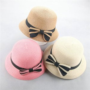 ARLONEET 2020 Girls Summer Cap Straw Hat Kids Summer Bow Straw hatFor Girls Children Panama Hat Kids Sun Cap Baby Beach Hats