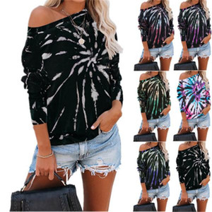 2020 Hot Sale Hot Fashion Casual Women's Top Loose Tie-Dye Printed Round Neck Hip Hop Long Sleeve Sweater