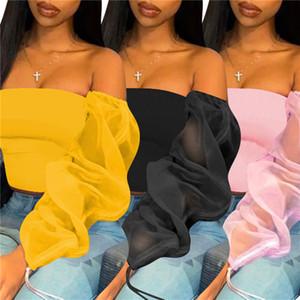 Sexy See Through T-shirts de Designer manches longues Slash Hauts Neck Vêtements Solide Couleur Casual Mesh T-shirt pour les femmes