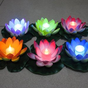 Artificial LED Floating Lotus Flower Candle Lamp With Colorful Changed Lights For Wedding Party Decorations Supplies