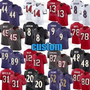 8 Lamar Jackson 12 Tom Brady Formalar 87 Rob Gronkowski Özel BaltimoreRavensTampaDefneKorsan 20 Ed Reed Tristan Wirfs