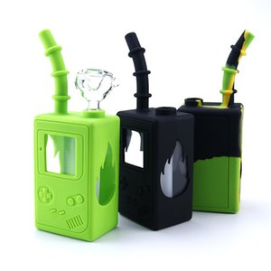 Dab rig Glass water bongs childhood game machine 7.3 inches mini bongs with glass bowls unbreakable water bong silicone bong