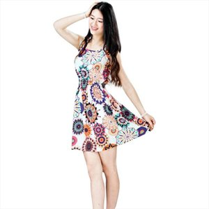 Female Fashion Summer Sleeveless Sunflower Print Lady Casual Beach Mini Dress Women Sundress 11.Apr.4