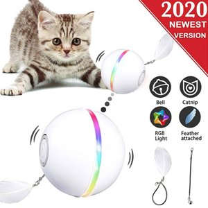 Smart Interactive Cat Toy 360 Degree Self Rotating LED Rolling Flash Ball Pets Playing Toys Supplies USB Rechargable Pet Ball