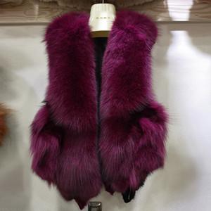 Women Winter Warm Women's Patchwork Fur & Faux Fur Fox Fur Vest Outwear Sleeveless Parkas Warm Keeping Caot 6 Colors Size M-2XL