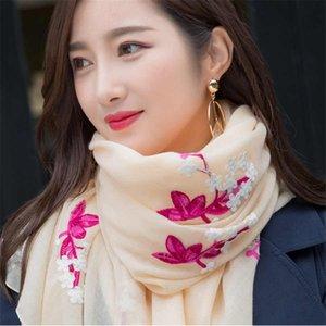 Las nuevas mujeres étnico algodón de lino de flores bordado bufanda suave hasta la cubierta del abrigo del mantón del cabo de seda bufanda de doble propósito