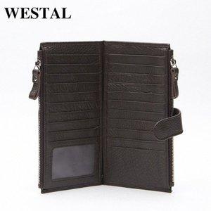 Wholesale WESTAL Genuine Leather Men Standard Wallets Man Double Zipper Wallet Mens Purse Clutch Bag Male Cowhide Leather Wallet 8057 uUgA#