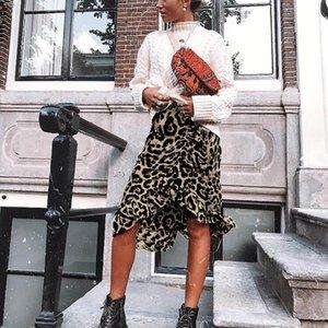2020 Moda Seksi Leopard Print Vintage Etek Kadın Yaz Casual Yüksek Bel Pileli Etek faldas mujer moda 2020