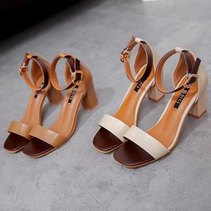 Sıcak Satış-Seksi Yaz Kadın Orta Topuklar Sandalet Açık Burun Kadın Sandalet Kalın Topuk Kadın Ayakkabı Kore Stili Gladyatör Ayakkabı