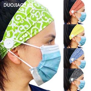 Düğmeler Çiçek Baskılı Knits Headbands Spor Başkanı Band İle Yeni Casual Ağız Maskesi Kulak Stretch Hairband