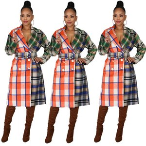 Womens Designer Trench Coats Double Breasted Panelled Plaid Overcoats Checkered Print Winter Women Woolen Blends Outwear Lapel with Belt
