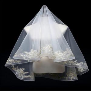 Luxe Mariage Chic Veils Deux couches Accessoires de mariée Veils récent Longueur de l'épaule Bridal Veil Custom Made