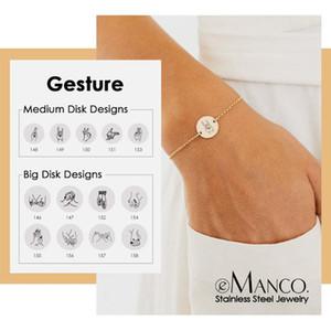 Link, Chain EManco Carve Gesture Charm Bracelet For Women Stainless Steel Bracelets Friend Gifts