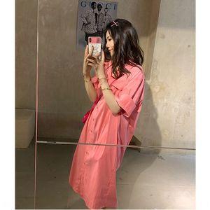 Hot Sale Online celebrity paper lazy women's shirt dress summer 2020 new Korean style loose mid-length shirt dress
