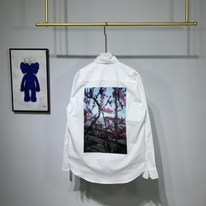 Europe Printemps Eté Hommes Femmes Essential Fleur Floral photo Hip hop Oversize Chemise à manches longues chemise fraîche street wear