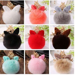 Fluffy Fur PomPom Fur Ball KeyChain Dancing Handbag Pendant cute rabbit ear Key Chain Ring KKA8093