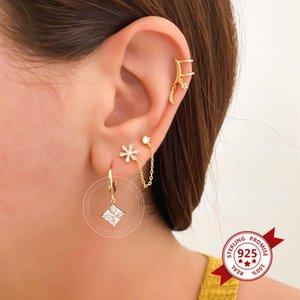 Argent 925 Cristal Hanging Huggies Créoles pour les femmes Violet / Blanc Charme CZ Boucles d'oreilles Hoops mince Bijoux