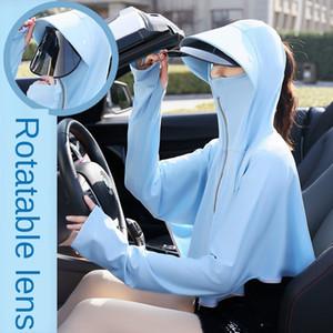 회전 렌즈 짧은 코트 아이스 실크 짧은 코트 옷 DuQjR 자전거 자외선 차단제 옷은 자외선 차단제 옷을 운전 야외 자전거 목도리